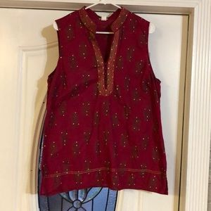 India-inspired long cotton tunic w sequins